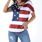 Women USA Flag Shirt  Ladies 4th of July Shirts Plus Size Loose Tops Star Stripe America Festival T-Shirt Print Blouse (2XL, Red)