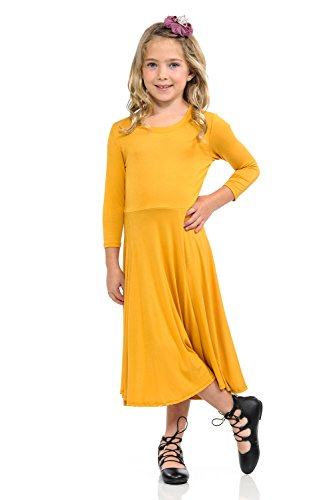 Honey Vanilla Girls' Princess Seam A-Line Dress with Full Skirt and Easy Removable Label Small 5-6 Years (Girls Dress Yellow)
