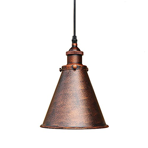 OYI Rustic Pendant Light, Cone Shade Single Light Antique Copper Ceiling Light Industial Hanging Lamp Fixture E26 Socket (Style 1)
