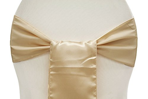 V' Decor: Pack of 50 Satin Chair Sashes / Bows sash for Wedding or Events Banquet Decor Chair Bow Sash (50, Champagne)