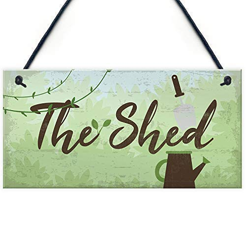 Puernash The Shed Signs Plaques Greenhouse Garden Xmas Wood Signs Design Hanging Gift Decor for Home Coffee House Bar 5 x 10 Inch (Greenhouse Sign)