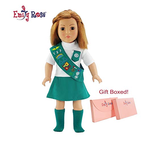 Emily Rose 18 Inch Doll Jr Junior Girl Scout Outfit for American Girl Doll Clothes   Dolls Clothes for American Girl Doll Clothes for Our Generation   Gift-Boxed!