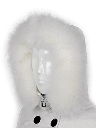 Futrzane Trim Hood Faux Fake Fur Hood Winter for Jacket Ski Collar Wrap Shawl (XS, White) White Faux Fur Trim