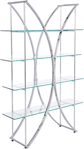 X-Motif Bookcase with Floating Style Glass Shelves Chrome and - Bookcase Bedford