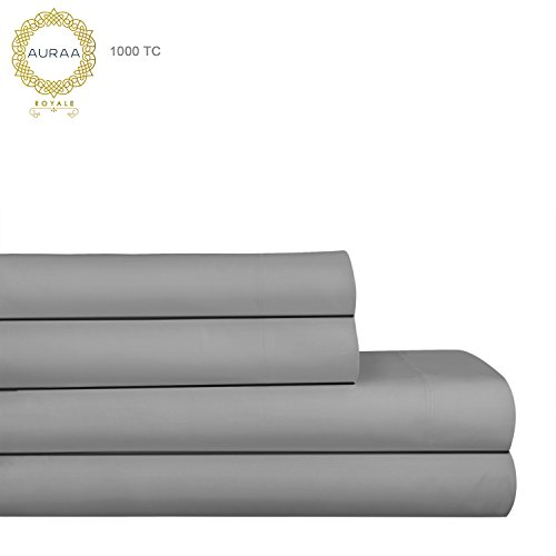 AURAA Royale 1000 Thread Count 100% American Supima Long Staple Cotton Sheet Set,4 Pc Set, Queen Sheets Sateen Weave,Hotel Collection Soft Luxury Bedding,Upto 18″ Deep Pocket,Charcoal