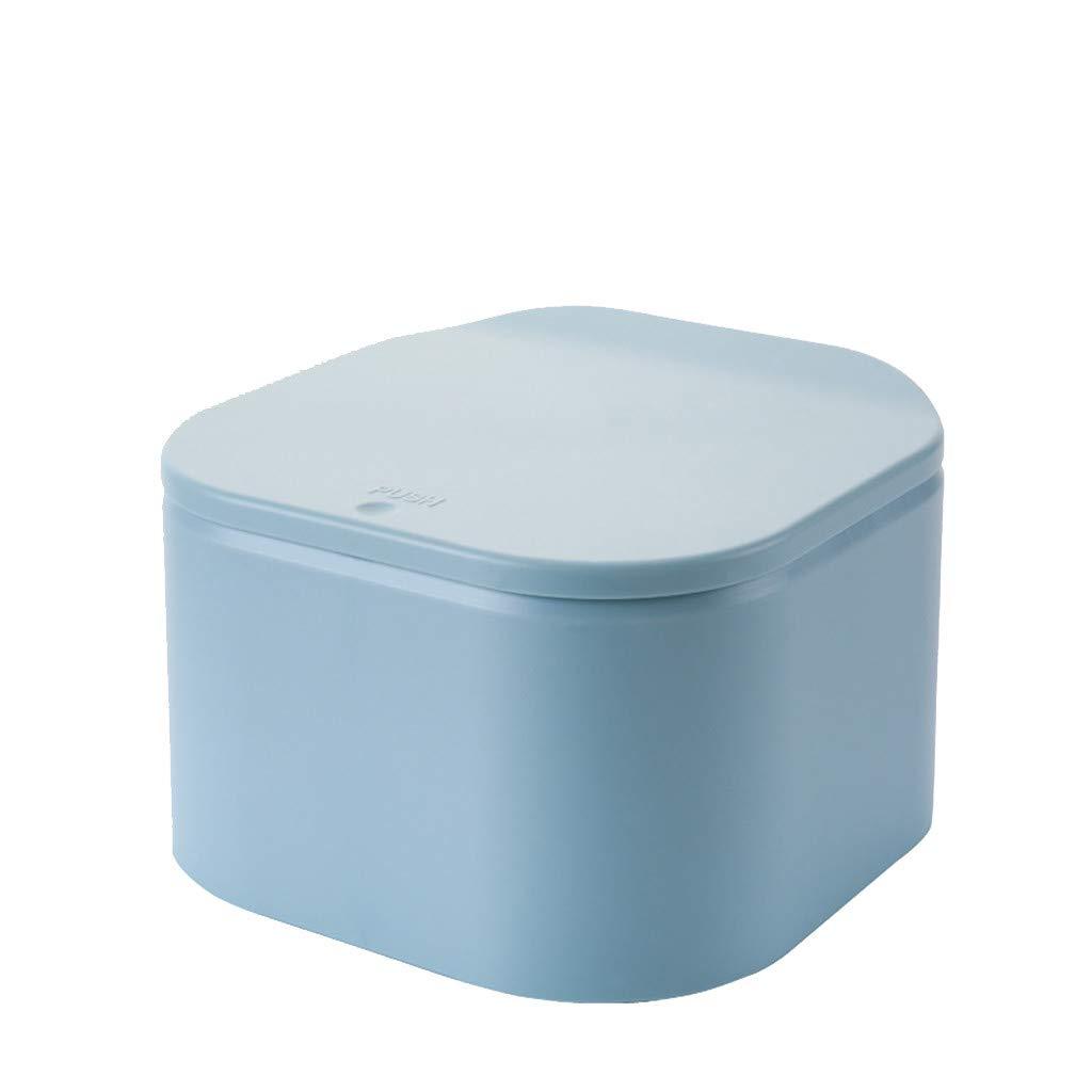 ♚Rendodon♚ Storage Box, Home Storage, Push-on Desktop Trash can, Mini Desktop Push-on Cover Trash Can Waste Garbage Basket TableRubbish Bin (Blue)