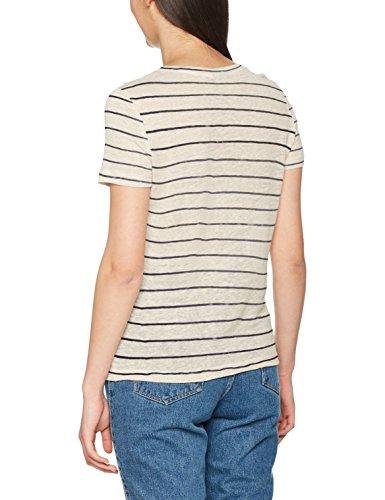 Vero Moda Vmreza S/S Linen Top a, Camiseta para Mujer Marfil (Oatmeal)