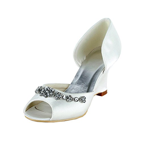 Stiletto 9cm Toe White Bridal Satin Heel Open Heel Wedding GYMZ651 Wedge Minishion Womens Shoes UCwZIBxCq