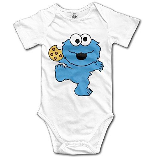 White Baby's Nom Nom Nom Cookie Monster Sleeveless Romper Jumpsuit (Cookie Monster Headband)