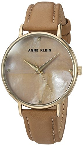 Anne Klein Women's AK/2790TMDT Gold-Tone and Dark Tan Leather Strap Watch (Tan Pearl Mother Of)