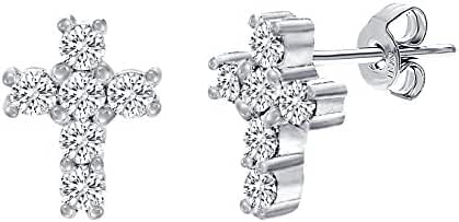 Sterling Silver Cubic Zirconia Rosary Cross Post Earring