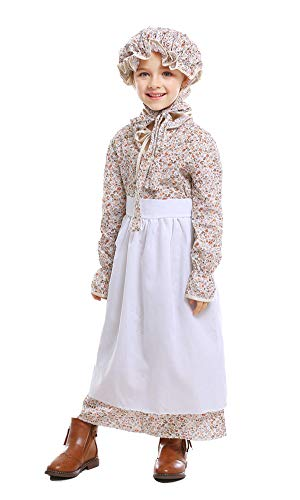 yolsun Girls' Colonial Costume, Pioneer Dress,Pilgrim for Girls with Bonnet (M(Suggested Height:49