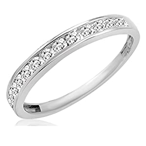 IGI Certified 10K White Gold Diamond Anniversary Ring ( 1/2ct available sizes 5 9)