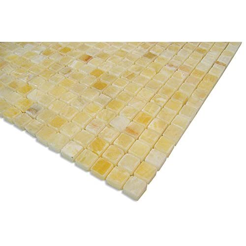 "delicate SAMPLE- 5/8"" Mosaic Gold Tan Yellow Honey Onyx (Polished) Stone Tile Kitchen ..."
