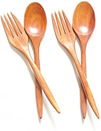 Favor 2 pair of Rosewood Spoons and Forks, Dinner Set, Wooden Spoon, Wood Flatware online
