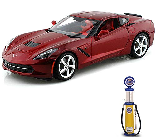 Maisto Chevy Diecast Car & Gas Pump Package - 2014 Chevy Corvette Stingray, Red 31182 - 1/18 Scale Diecast Model Toy Car w/Gas Pump ()