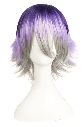 MapofBeauty Mixed Color Short Straight Cosplay Costume Wig (Dark Purple/ Light Purple/ Gray) (Color Wig)