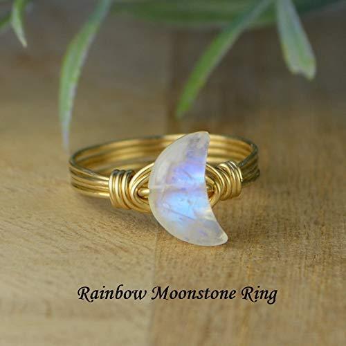 Semi Precious #646 Blue Moon Gold Gemstone Moon Cabochon 21mm Labradorite Moon Cab Wire Wrapping