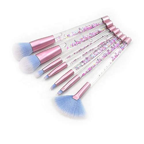 Jax & Olivia - 7 Piece - Crushed Crytals - Diamond Confetti - Liquid Confetti - Liquid Glitter & Stars- Makeup Brush Set with Brush Bag - Makeup Brushes for Girls (Liquid Confetti)