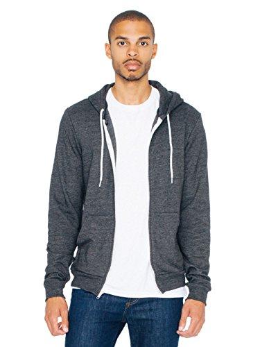 american-apparel-men-tri-blend-zip-hoodie-size-l-tri-black
