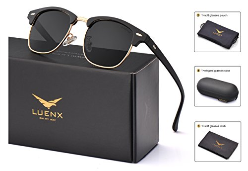 LUENX Men Women Clubmaster Polarized Sunglasses:UV 400 Protection 51MM with Case (23 Black(Matte Frame)/Non-Mirror, 51) by LUENX