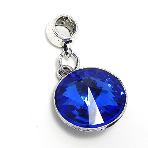 Pro Jewelry Sapphire Blue Fasceted Crystal Bead Compatible with European Snake Chain Bracelets