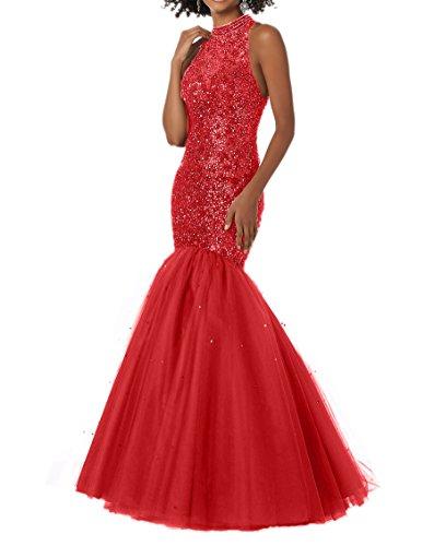 Champagner Langes Abschlussballkleider Perlen Meerjungfrau Rot Damen mit Abendkleider Promkleider Charmant EYq5RwU