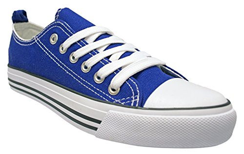 Shop Pretty Girl Damen Sneakers Casual Leinwand Schuhe Solid Farben Low Top Lace Up Flache Mode Königsblau
