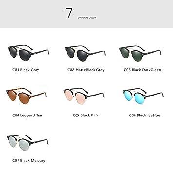 Rapid Eyewear tocoss (TM) été Aviation ronde Lunettes de soleil M? Nner Vintage Retro femmes Driving Métal Ray oculos marque de luxe Lunettes, Black Gray