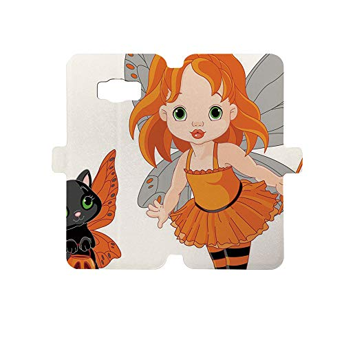 Premium PU Leather Magnetic Flip Folio Protective Sleeve for Samsung Galaxy S8,Halloween,Halloween Baby Fairy and Her Cat in Costumes Butterflies Girls Kids Room Decor -