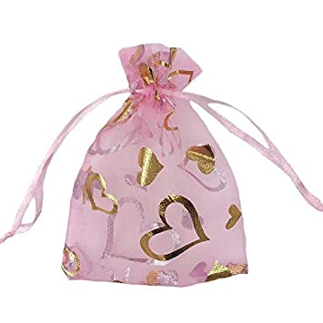 SumDirect 100Pcs 3.5x4.7 inches Sheer Drawstring Heart Organza Jewelry Pouches Wedding Party Christmas Favor Gift Bags (Pink)