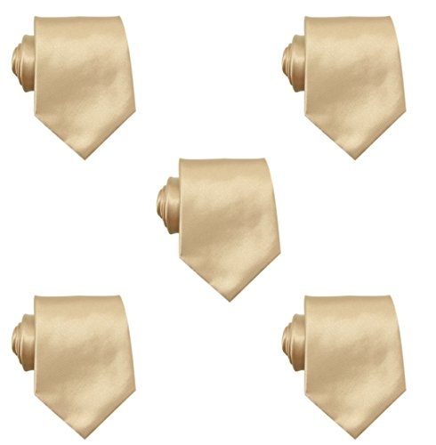 Mens Solid Satin 3.9 Inch Wide Formal Necktie Pack 5 For Wedding By JAIFEI (Champagne) by JAIFEI