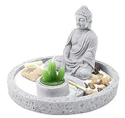 Tabletop Buddha Zen Garden Rock Rake Sand Cactus Candle Holder Home Decor Gift