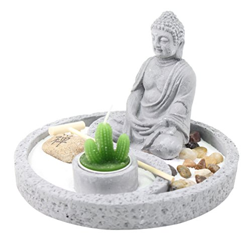 Tabletop Buddha Zen Garden Rock Rake Sand Cactus Candle Holder Home Decor Gift