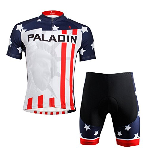 PaladinSport Men's American Flag Style Short Sleeve Cycling Set Size 6XL