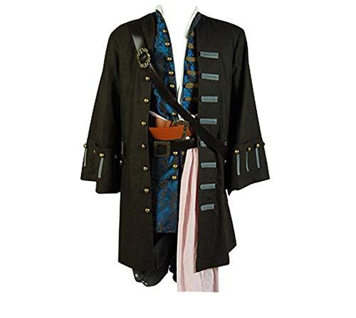 Cosdaddy® Mens Cosplay Costume Halloween Coat Pants Full Set (Man-L) (Jack Belts Sparrow)