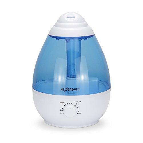 NEXGADGET Ultrasonic Cool Mist Humidifier - 1 Gallon, Mute, Auto Shut-off, Night Light Function, Blue&White