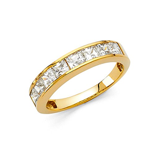 Yellow Gold Wedding Set (Size 7 - 3mm Solid 14K Yellow Gold Princess Cut Channel Invisible Set Wedding Band Ring (1.50 cttw.))