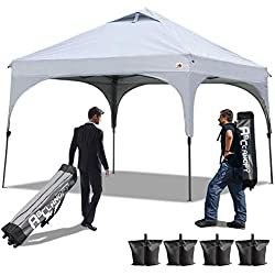 ABCCANOPY Pop Up Canopy Beach Canopy 10'x10'Better Air Circulation Canopy with Wheeled Backpack Carry Bag+4 x Sandbags, 4 x Ropes&4 x Stakes(Gray)
