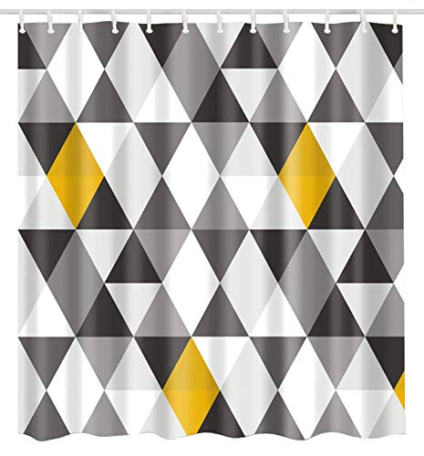 BROSHAN Geometric Fabric Shower Curtain Abstract Triangle Grey Black White Yellow Pattern Polyester Waterproof Bathroom Decor Set with Hooks, 72 x 72 Inch (Fabric Geometric Curtains Shower)