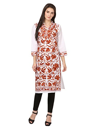 saadgi Women's Chikankari Embroidered Handwork Pure Cotton Chikan Kurta Large White by saadgi