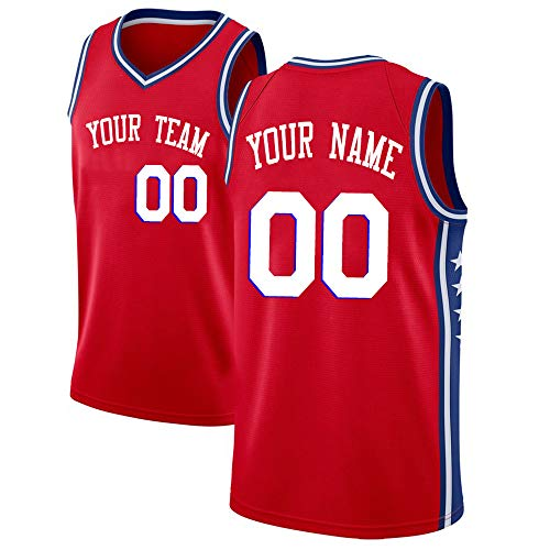a03418781 QimeiJer Men s Custom Basketball Jersey for Outdoor Sports Red-Star L