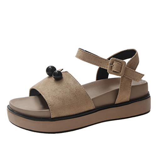 Shusuen_shoes Women Platform Soft Sole Summer Open Toe Casual Sandals Khaki