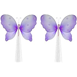 "The Butterfly Grove Isabella Butterfly Curtain Tieback for Baby, Purple Wisteria, Small/5"" x 4"" - pair"