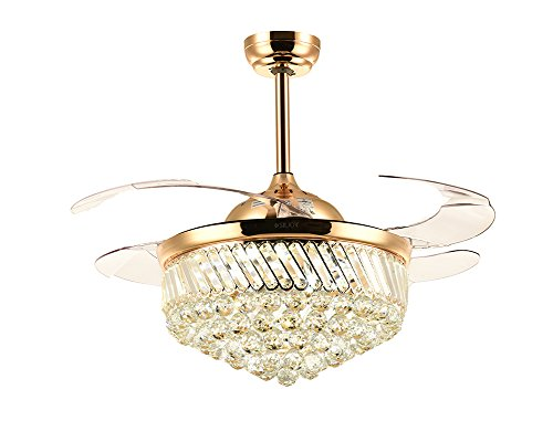 7PM Retractable Ceiling Fans 42 Inch Crystal Invisible Chand