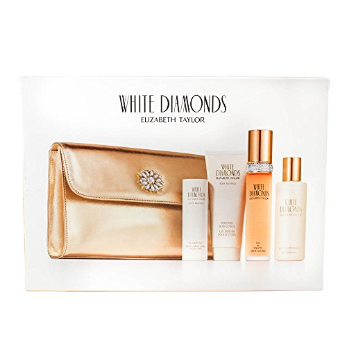 Elizabeth Taylor White Diamonds Women Giftset (Eau De Toilette Spray, Perfumed Body Lotion, Luxury Bath Bubbles, Satin Body Talc, Cosmetic Bag)