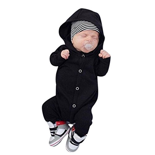 SALE ! Teresamoon Cotton Outfits, Baby Girls Boys Hooded Romper Solid Jumpsuit Long Sleeve Clothes (0-6 Months, Black) -