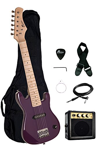 30″ Kids 1/2 Size ULTIMATE Electric Guitar Package with 3W Amp, Gig Bag, Strap, Cable and Exclusive RAPTOR Picks (Purple)