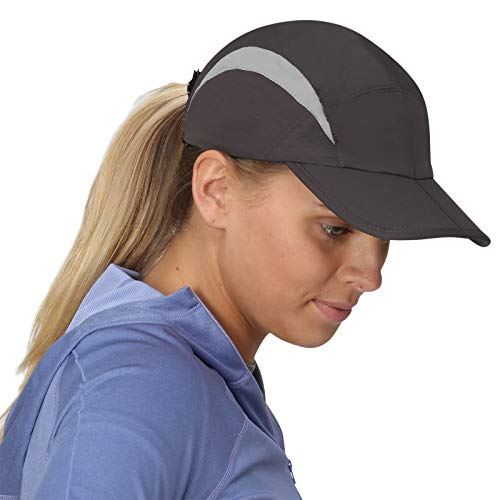 (TrailHeads Lightweight Summer Running Cap for Women | Folding Hat with UV Protection - Charcoal)