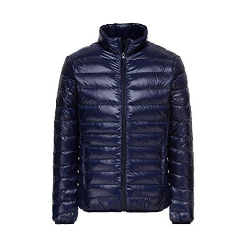 Lanmay Men's Ultralight Packable Stand Collar Down Jacket Outwear Puffer Down Coats L Navy Blue